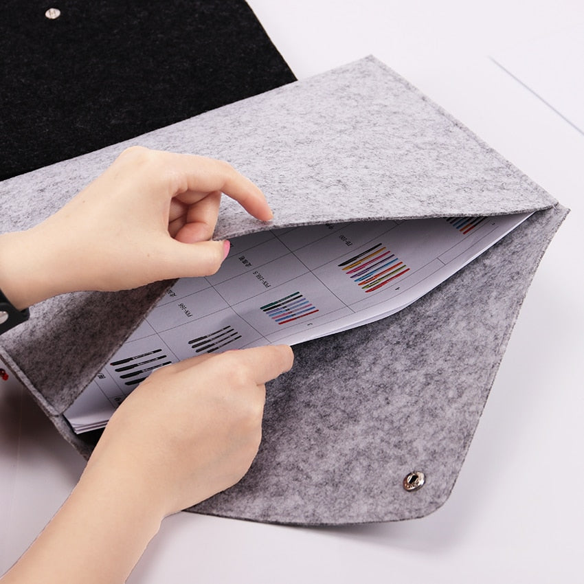 1PC Simple Solid A4 Big Capacity Document Bag Business Briefcase File Folders Chemical Felt Filing Products Student Gifts