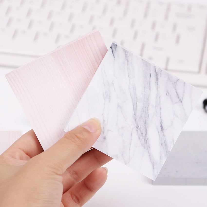 Marble Color Self-Adhesive Sticky Memo NotePad (1pc, 75 sheets)