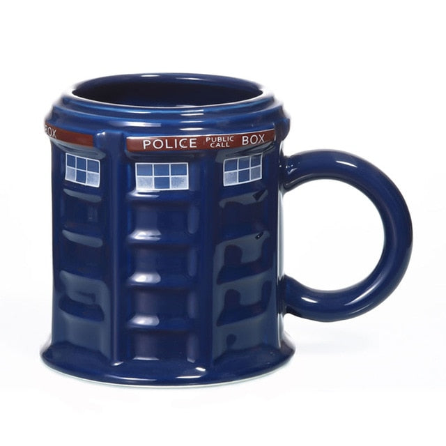 Blue Tardis Police Box Ceramic Mug Cup with Lid Cover