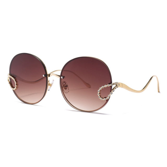 Luxury Ladies Rhinestone Rimless Round Sunglasses for Women