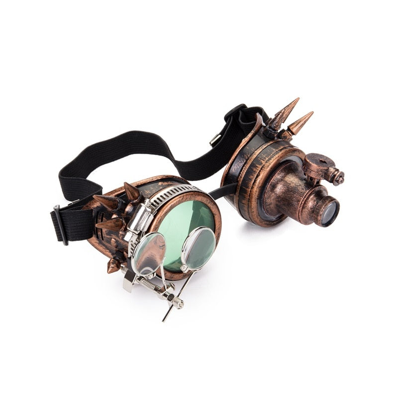 Steampunk Welding Glasses Goggles with Two Colors Lens and One Light for Men