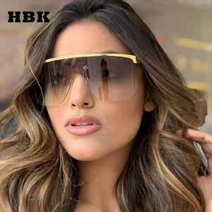 Trendy Fashion Oversized Big Frame One-Piece Sunglasses (Unisex, UV400)