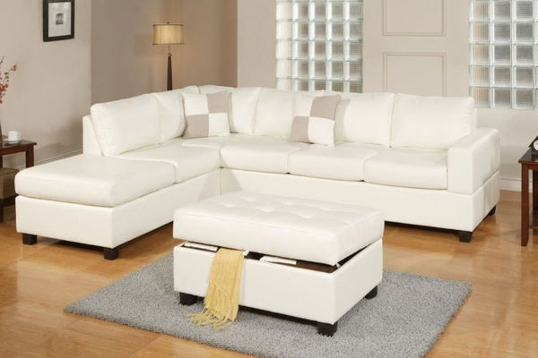 3Pcs  White Bonded Leather Reversible Sectional Sofa - F7354