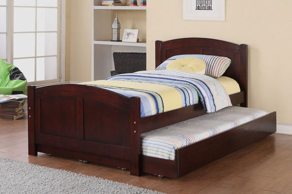 Cherry Wood Kids Twin Bed with Trundle - F9217