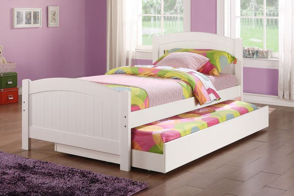 White Wood Kids Twin Bed with Trundle - F9218