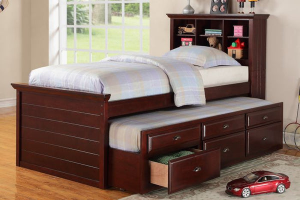 Kids Bookcase Twin Bed Storage Trundle Drawer - F9220