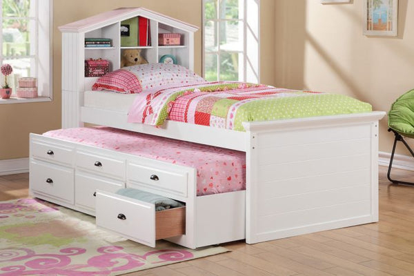 Girls Bookcase Twin Bed Storage Trundle Drawers - F9223
