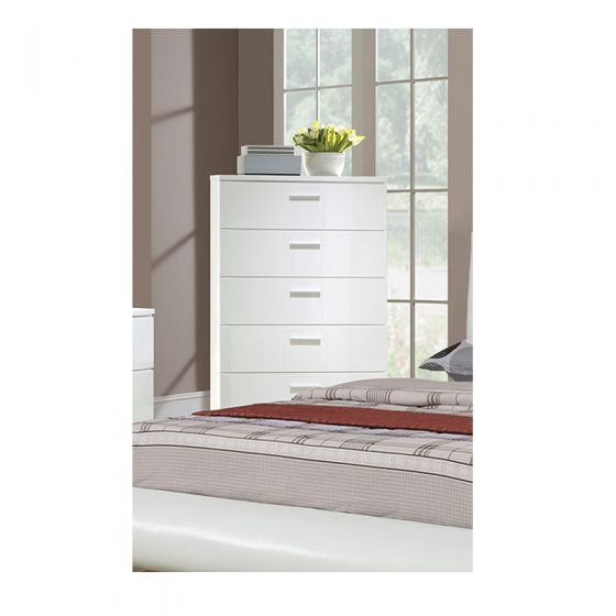 White 5-Drawer Chest with Drawer - F4789