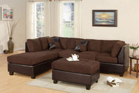 Chocolate Reversible Chaise Sectional Sofa Ottoman - F7615