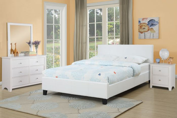 White Faux Leather Platform Queen Bed - F9209