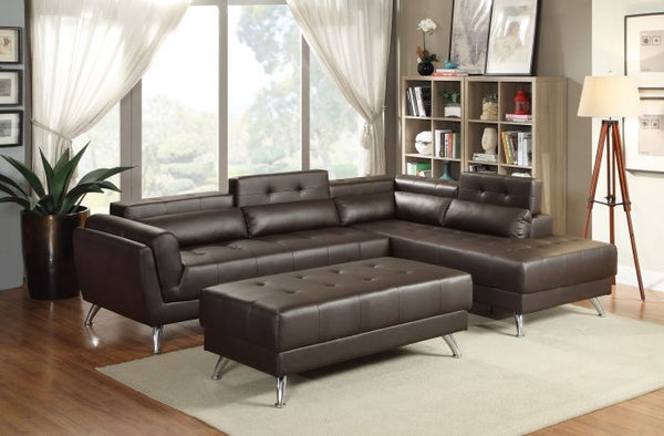 Espresso Bonded Leather Sectional Ottoman Sofa Set - F6976