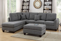 Ash Black Polyfiber 2-PC Reversible Chaise Sectional Sofa - F6511