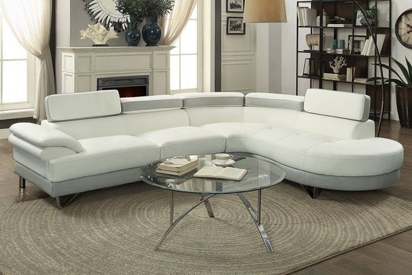 White Grey Faux Leather 2 Pieces Sectional Sofa - F6967