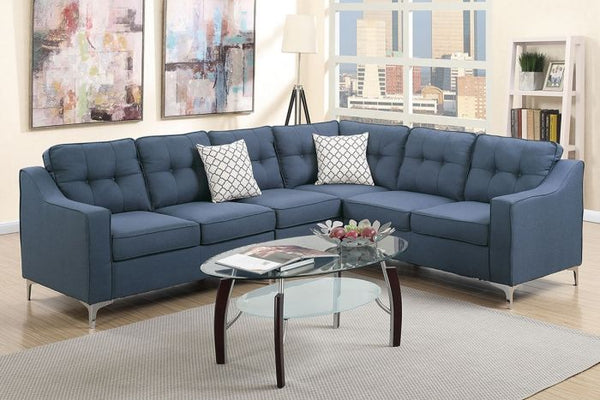 Navy Polyfiber Reversible Sectional Sofa - F6889
