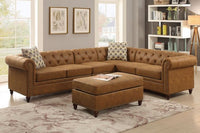 Camel Breathable Leatherette 4PC Sectional Sofa - F6546