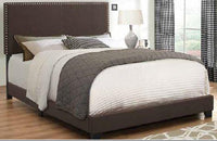 Boyd Upholstered Nailhead Headboard bed in Brown C350081