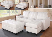 Lyssa White Reversible Sectional sofa with Ottoman acme A51210