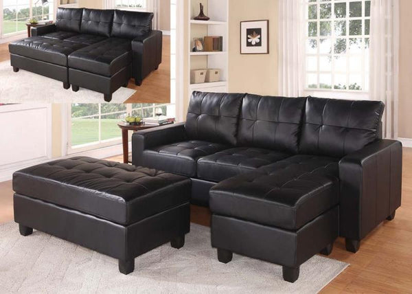 Lyssa Black Reversible Sectional with Ottoman acme A51215