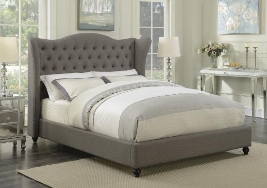 SUMMER SALE -LIGHT GREY FABRIC  WING TUFTED BED - C300739