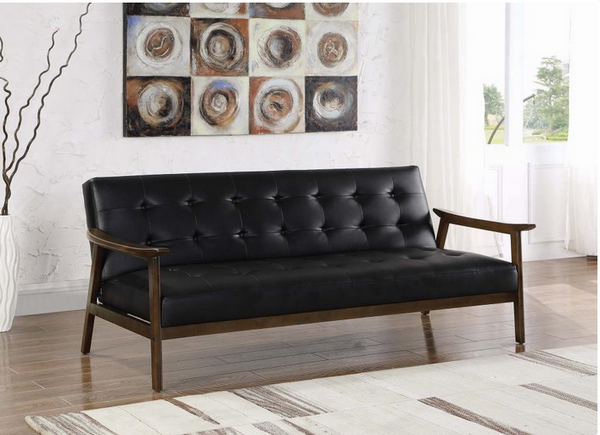 SUMMER SALE - SOFA BED - BLACK LEATHERRETTE WITH WOOD FRAME - 360059