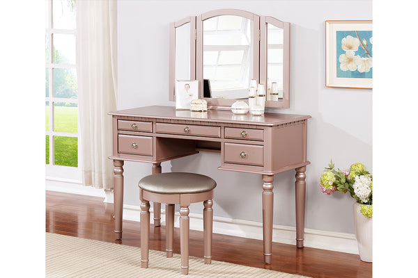 Bedroom Vanity in Rose gold with Trifold mirror -F4060