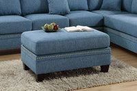 Blue Polyfiber 2-PC Reversible Chaise Sectional Sofa -F6512