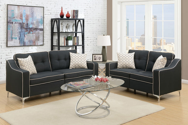SMALL SOFA AND LOVE SEAT IN BLACK - F6891