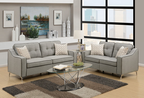 2PCS SOFA SET LIGHT GREY COLOR - F6892