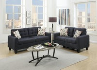 2 PIECE  SOFA LOVE SET IN BLACK LINEN FABRIC - F6903