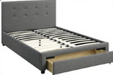 White upholtered platform  Bed with drawers  - F9314