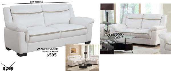SUMMER SALE -WHITE SOFA LOVE SEAT SET WITH GREY STRIPE - C506594