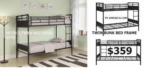 CLEARANCE- matte black Casted pipe twin twin bunk bed - 461202