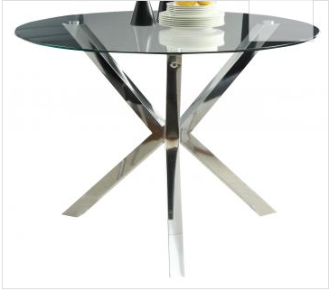 DINING SET VANCE DESIGNER CHROME AND GLASS ...