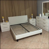 White economy bedroom set with upholtered platform  bed  - mgbed