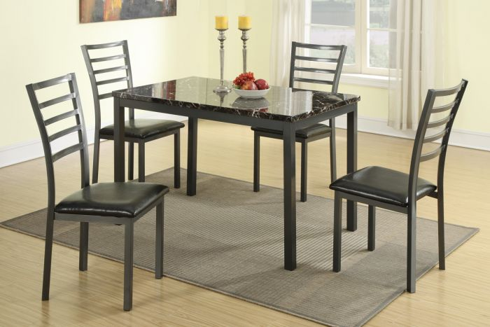 5 Pieces Black Metal Dining Set with Faux Marble - F2368