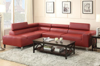 Burgundy Bonded Leather 2-Pcs Sectional Sofa - F7300