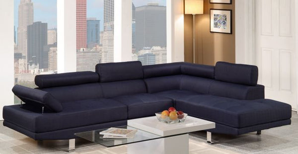 2-Pcs Blue Sectional Sofa Set Right Facing Chaise - F7569