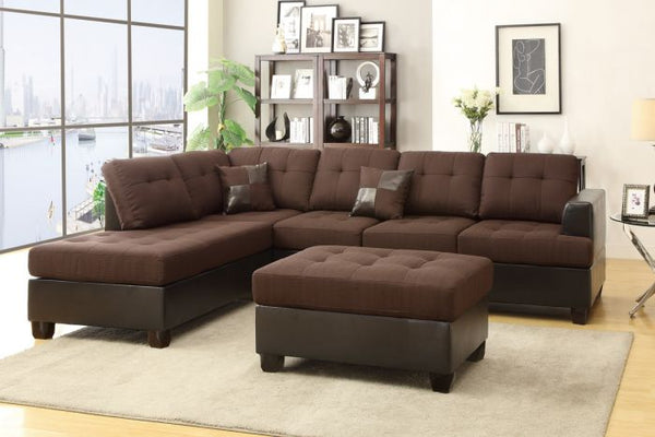 3 Pieces Chocolate Reversible Chaise Sectional Sofa - F7602