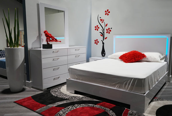Bedroom set with Led light in glossy finish -Florence