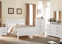 Louis Phillippe Sliegh Bed Set  in White - AC23830