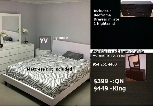 Manager Special - Affordable bedroom set in Black White or Brown - Milanre