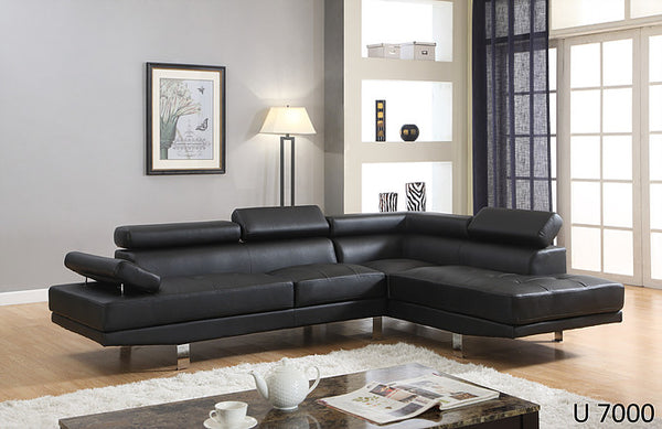 DESIGNER 2 PIECE SECTIONAL WITH CHROME LEGS - T7006