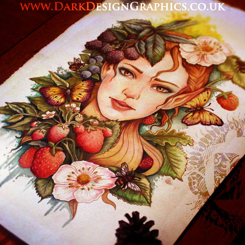 Summer Fruit Fairy Tattoo Design
