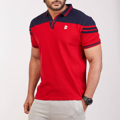 DB063 Collar Contrast Cut & Sew Polo Tees - Red