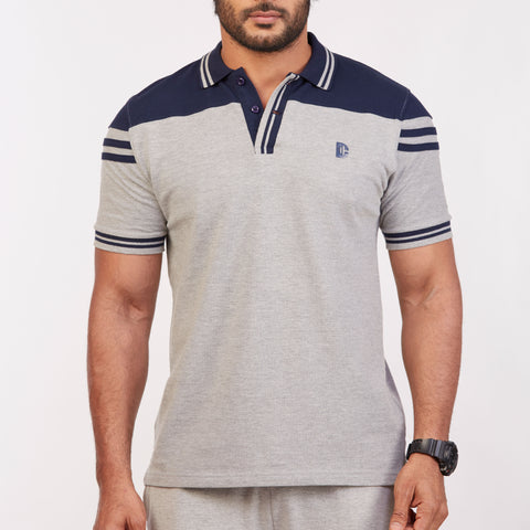 DB063 Collar Contrast Cut & Sew Polo Tees - Grey Melange