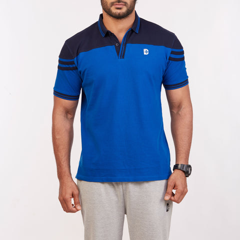 DB063 Collar Contrast Cut & Sew Polo Tees - Royal Blue