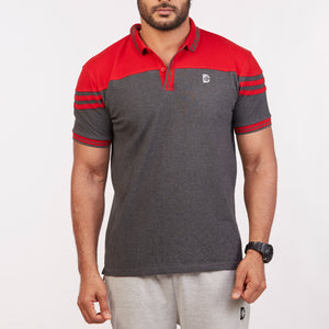 DB063 Collar Contrast Cut & Sew Polo Tees - Charcoal Melange