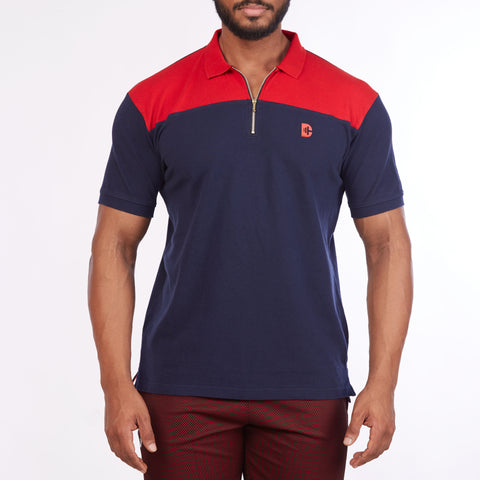 DB022 Collar Cut & Sew Polo Tee Shirts - Red & Navy