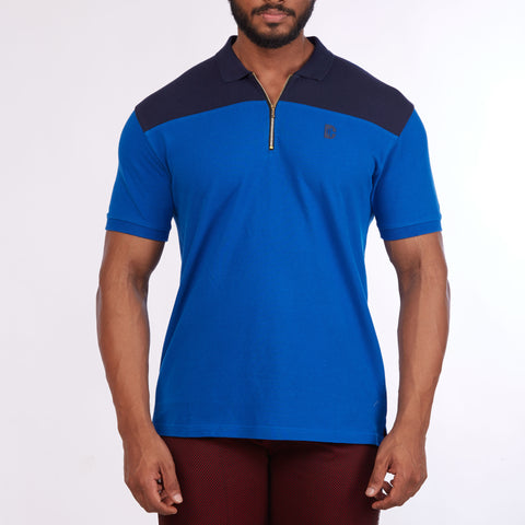 DB022 Collar Cut & Sew Polo Tee Shirts - Navy & Royal Blue