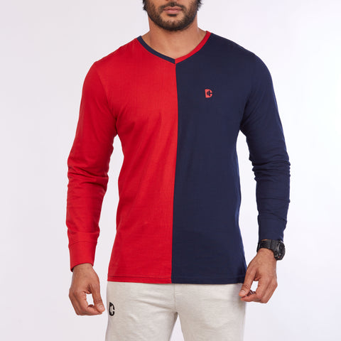 DB045 - Contrast Cut & Sew Full Sleeve Tees Red/Navy